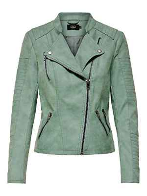 ONLY ONLAVA Faux Leather Biker OTW Noos Chaqueta, Grün (Chinois Green Chinois Green), 40 para Mujer
